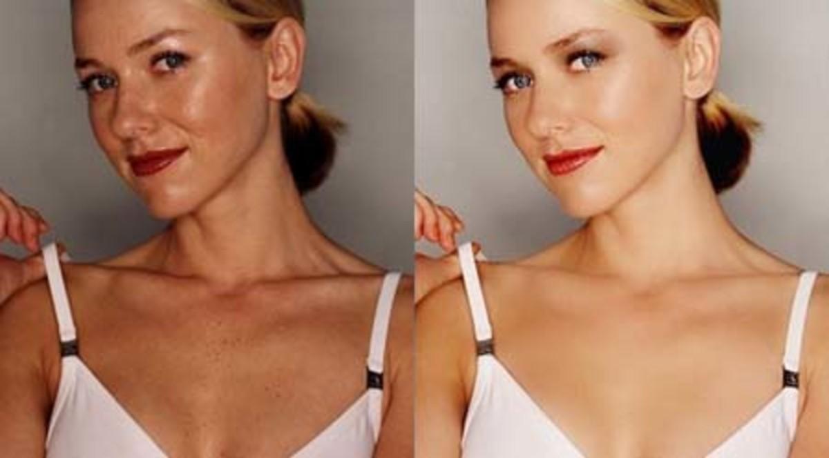 Naomi Watts Pre and Post Photoshop