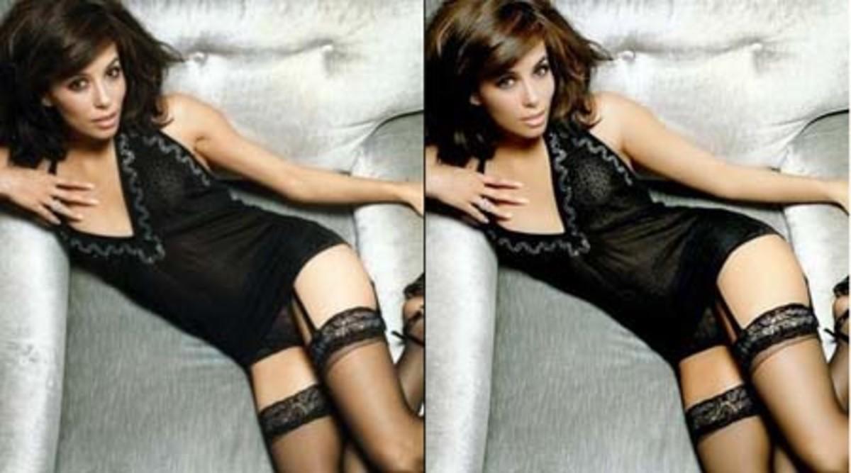 Eva Longoria Pre and Post Photoshop