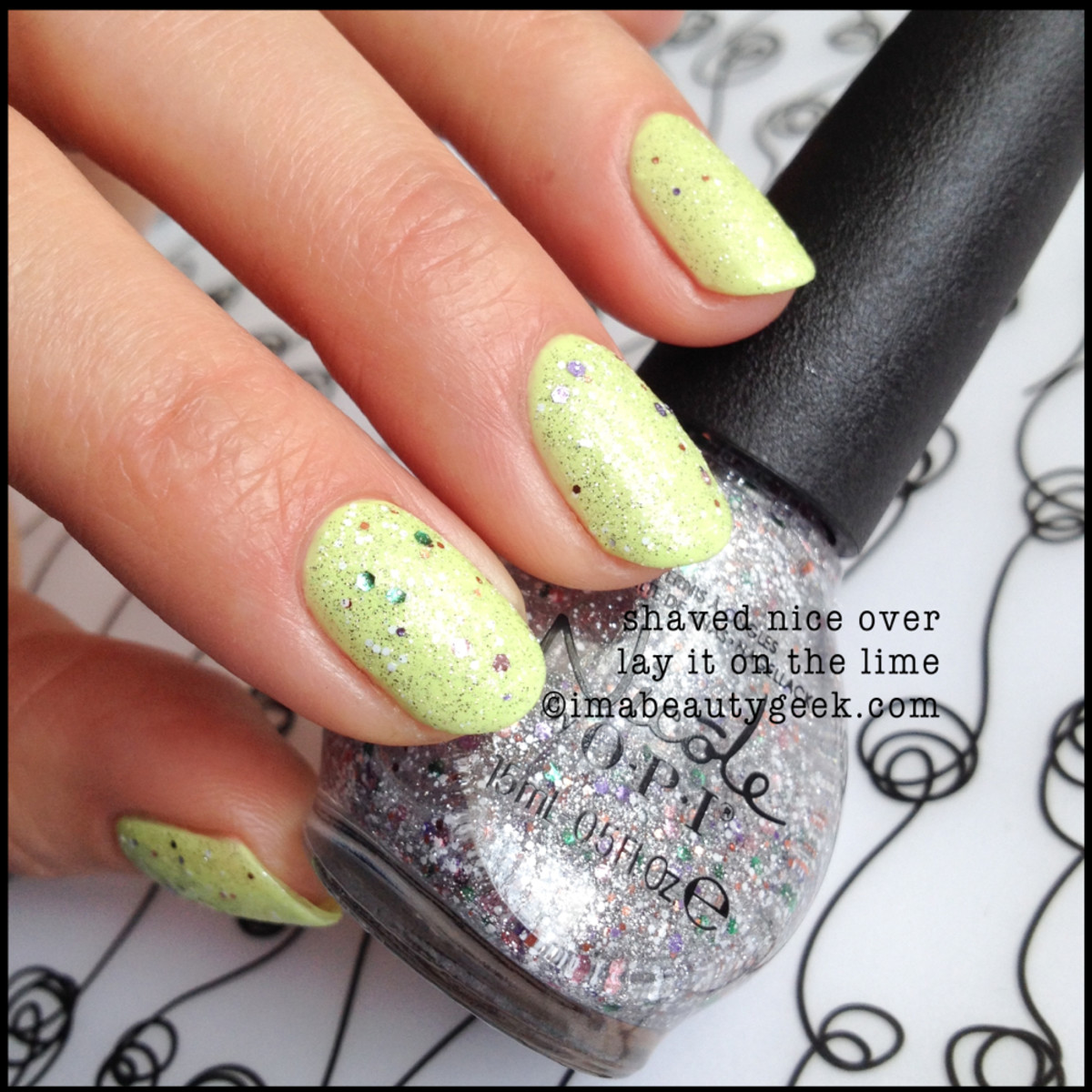 Nicole by OPI Summer 2014_Shaved Nice over Lay it on the Lime Nicole by OPI 2014