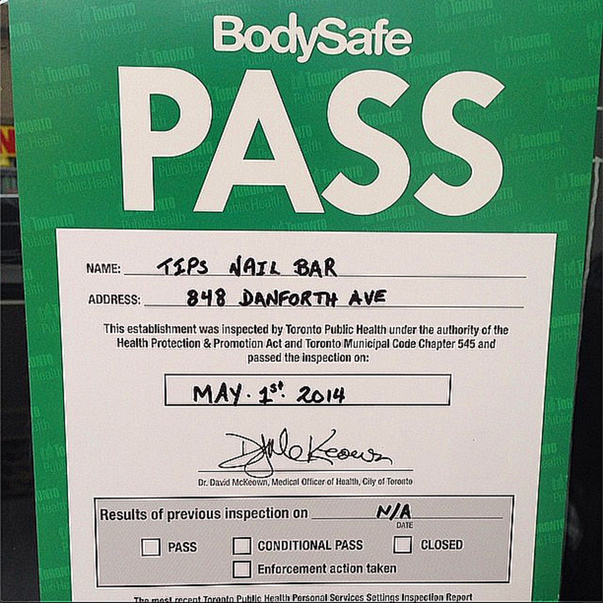 Toronto Public Health Bodysafe Pass for hair salons_nail salons_nail bars_tattoo parlours