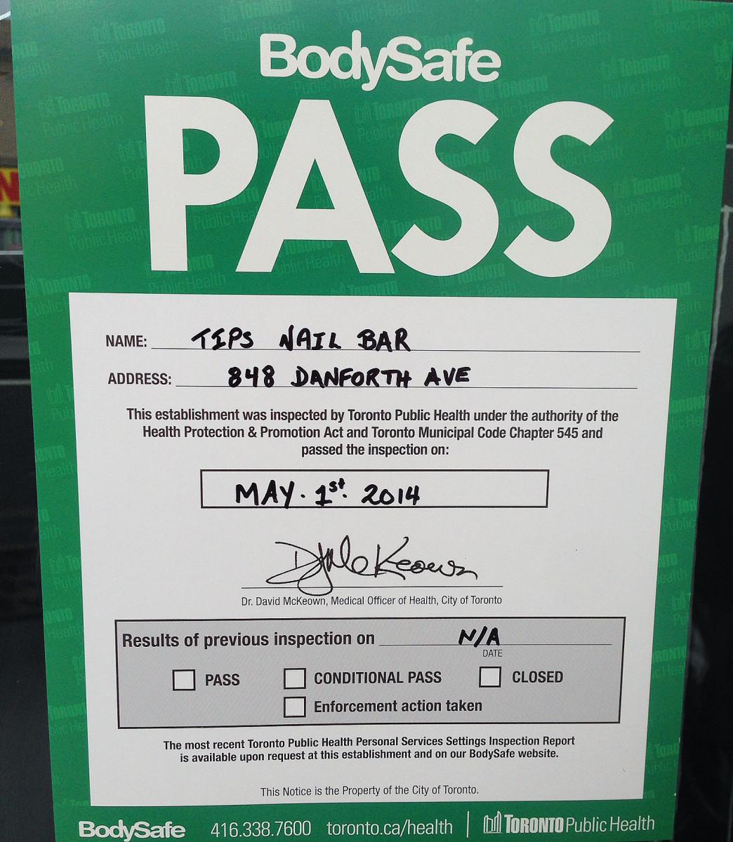 Toronto Public Health BodySafe Pass_Tips Nail Bar 2014