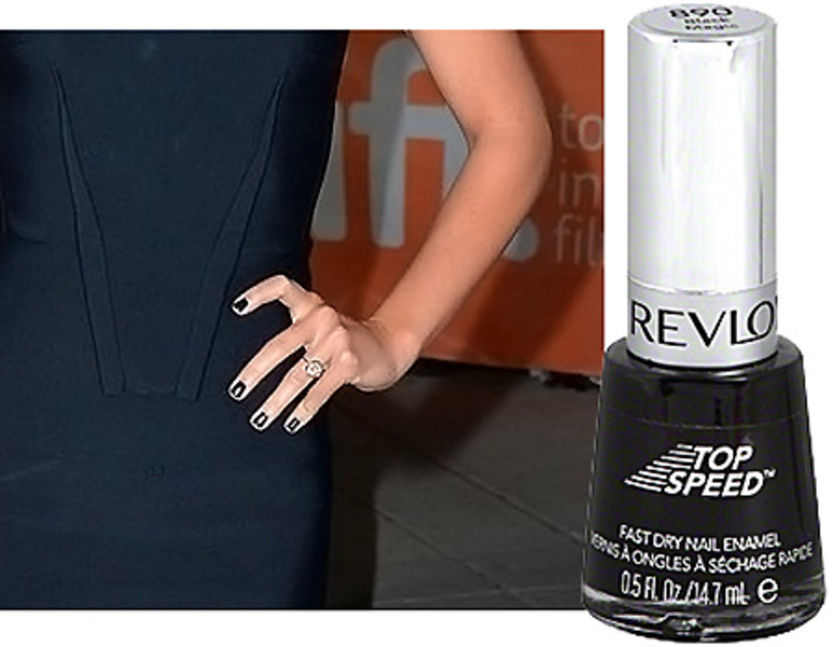 Olivia Wilde TIFF 2013 nails by Leeanne Colley with Revlon Top speed Black Magic