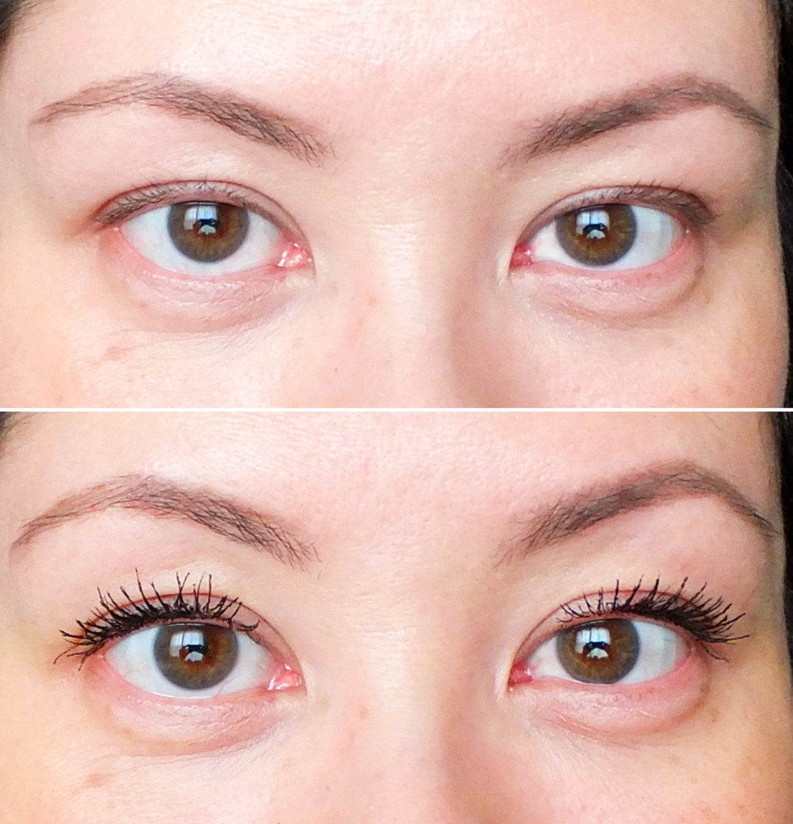 L'Oréal Paris Voluminous Butterfly Mascara before and after (no tightlining)
