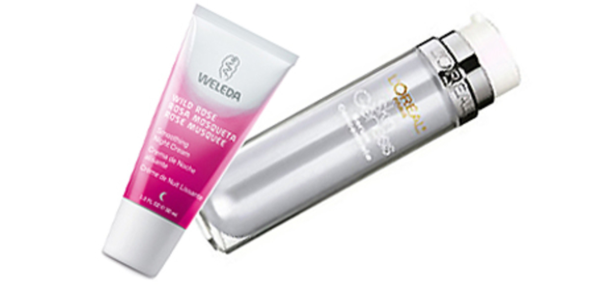 Weleda Wild Rose Smoothing Night Cream, L'Oreal Paris Skin Genesis Daily Treatment Serum Concentrate