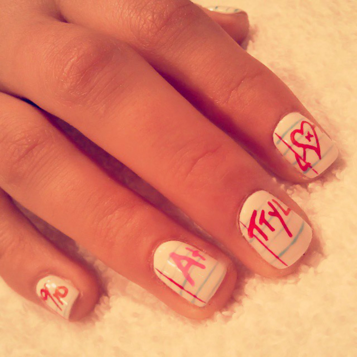 Notebook nail art by Mani Melissa Forrest