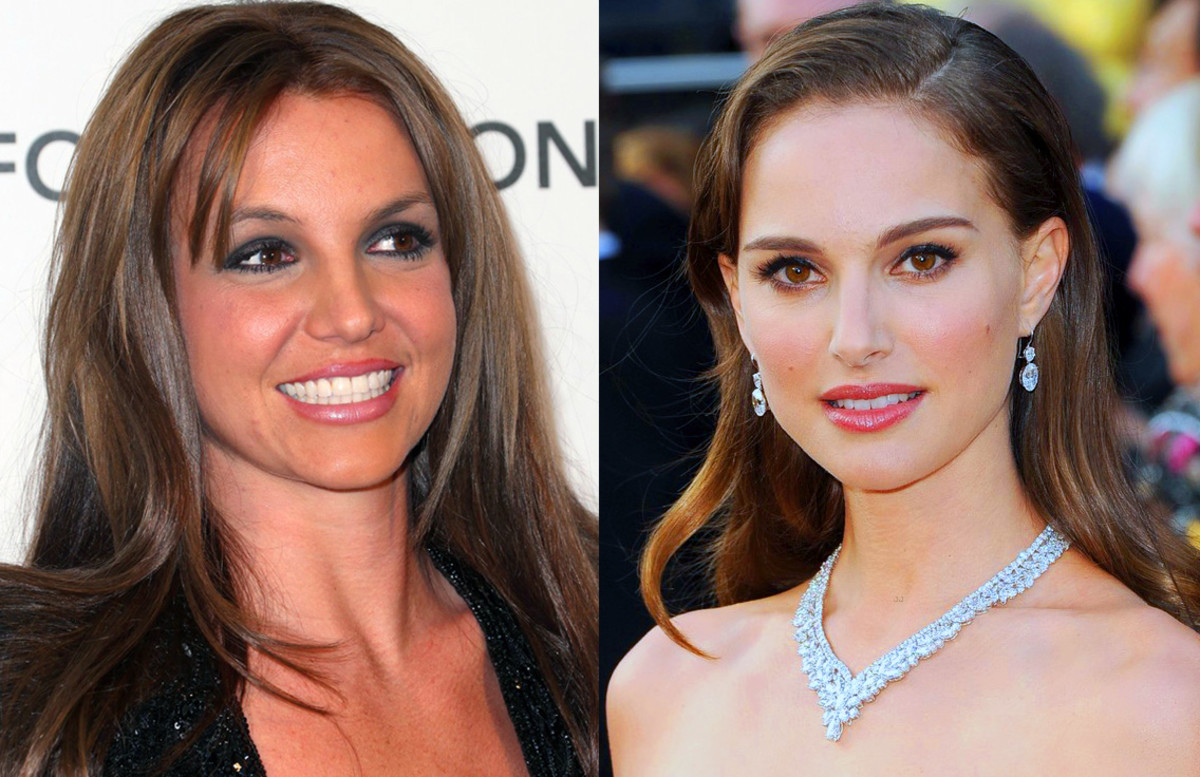 brown hair vs brunette_Britney Spears vs Natalie Portman