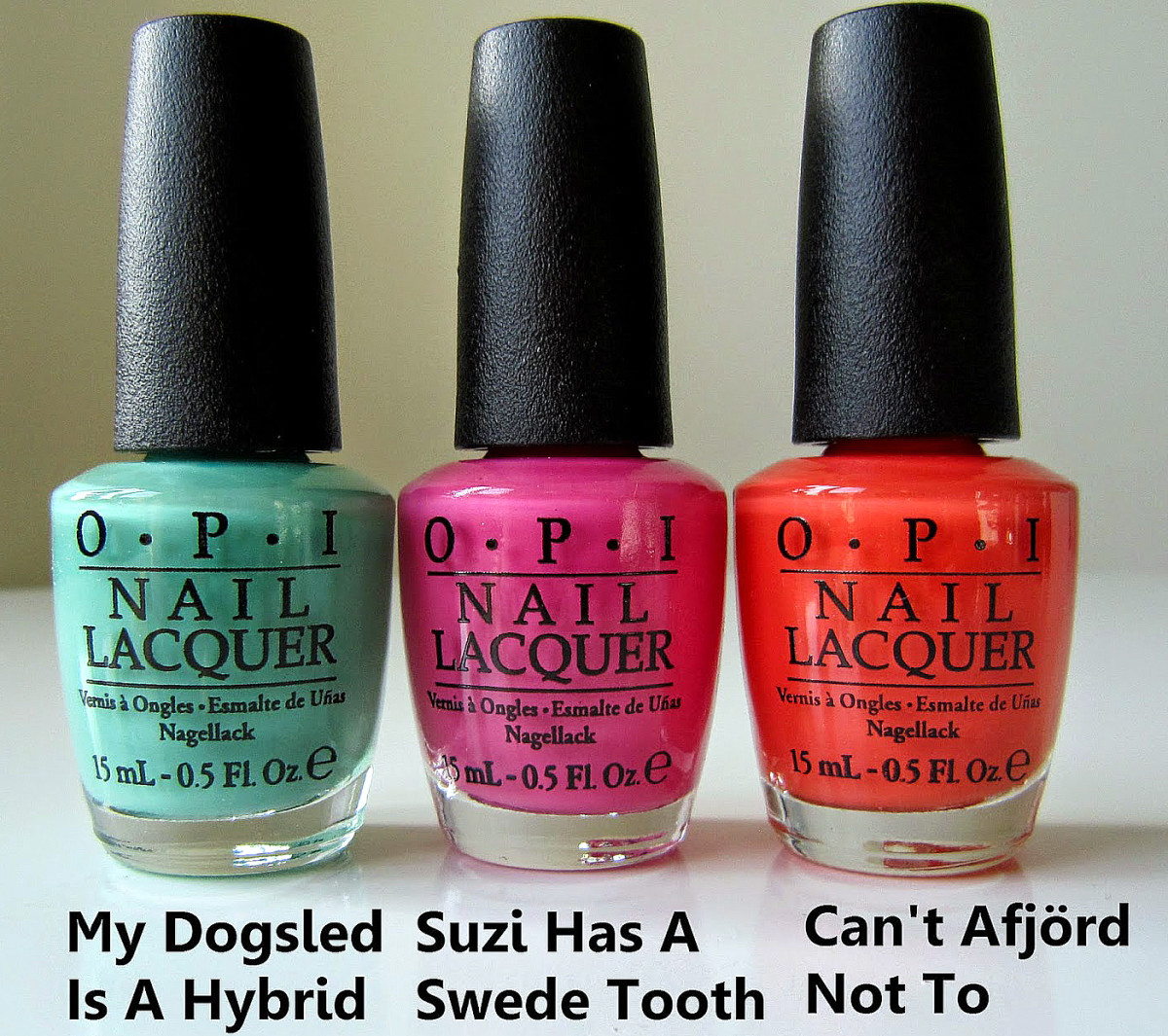 OPI Nordic collection_Fall Winter 2014_My Dogsled is a Hybrid_Suzi Has a Swede Tooth_Can't Afjord Not To