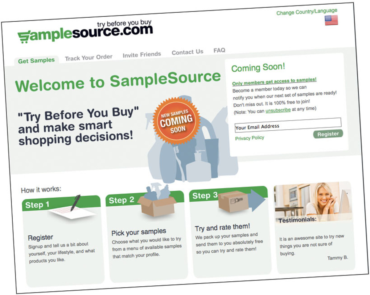 samplesource opening page