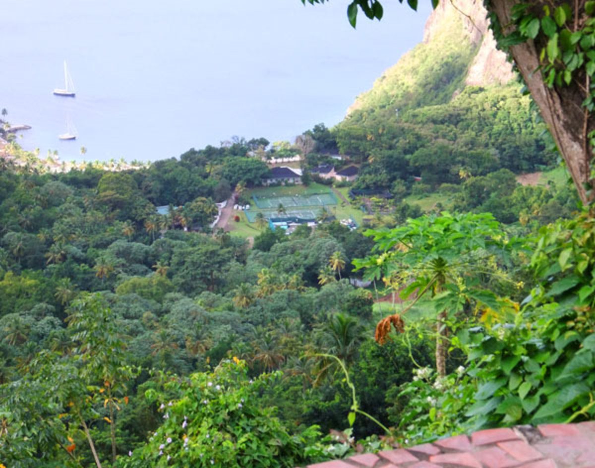 Ladera_St. Lucia_view of The Jalousie Plantation Sugar Beach Hilton