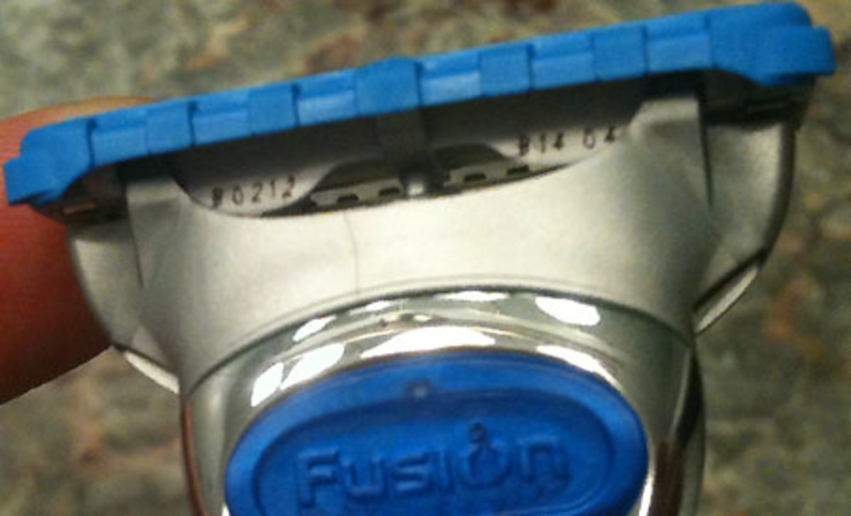 Gillette razor cartridges: see those tiny numbers etched under the blue edge?