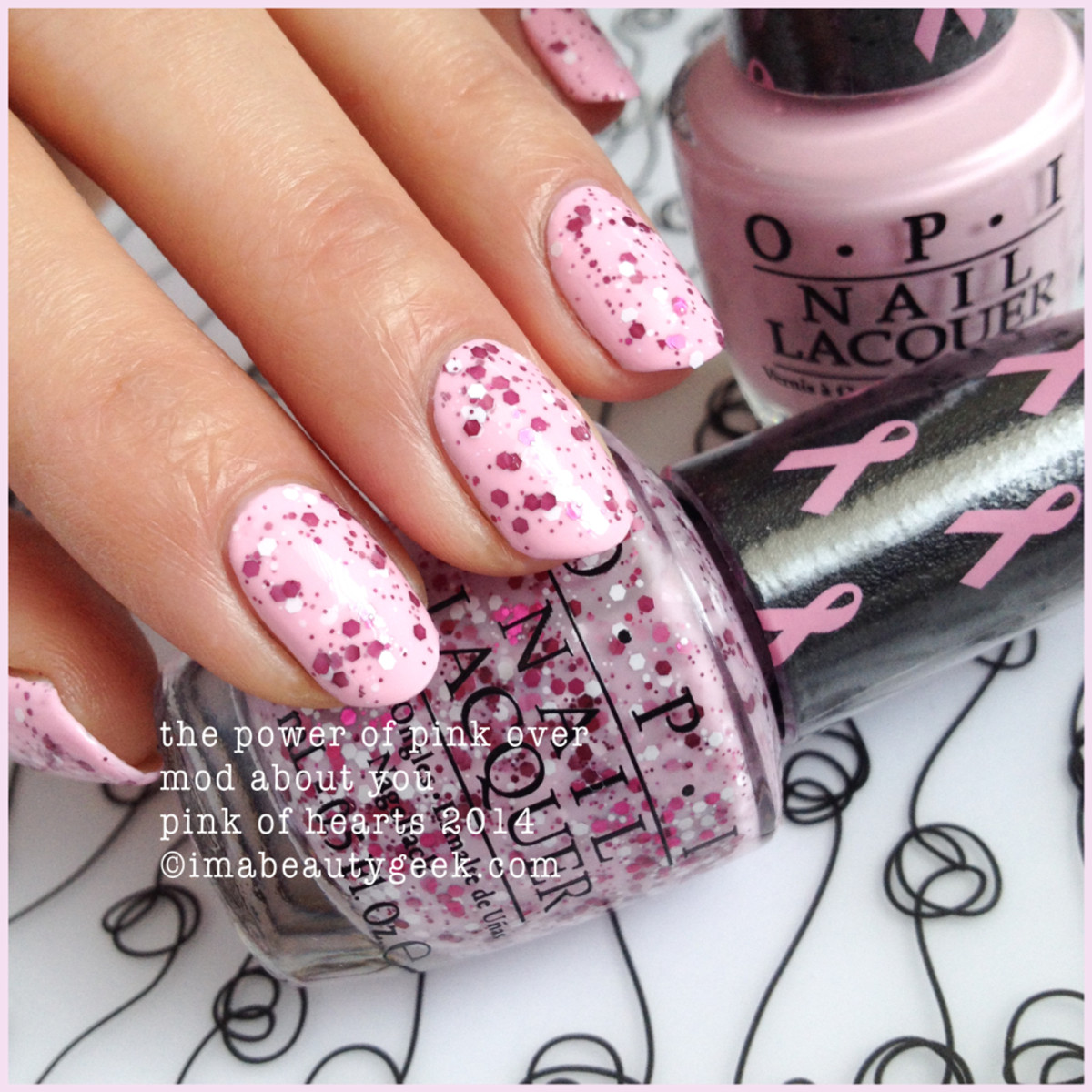 OPI The Power of Pink over OPI Mod About You Pink of Hearts 2014