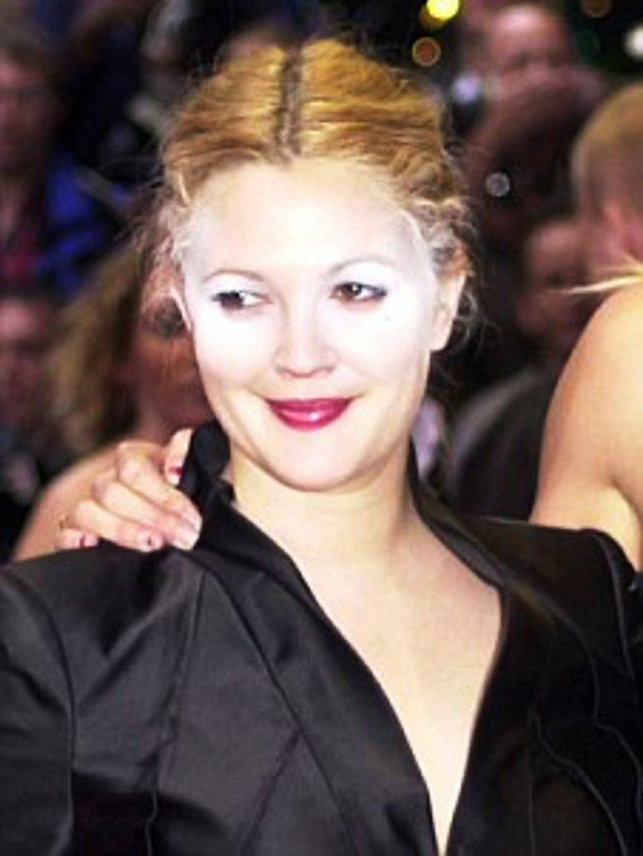 Drew Barrymore white powder face