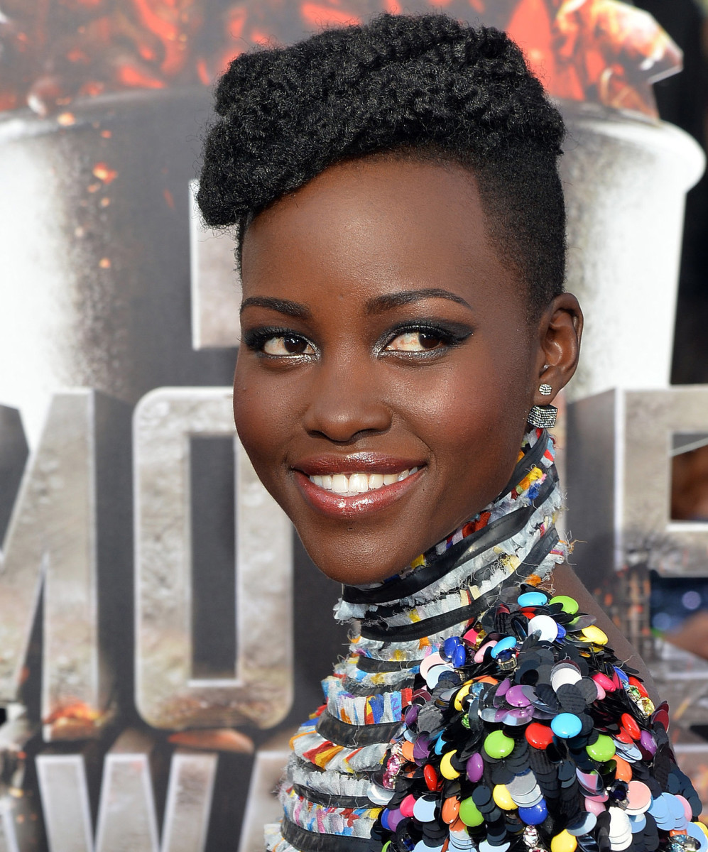 Lupita Nyong'o makeup 2014 mtv movie awards red carpet