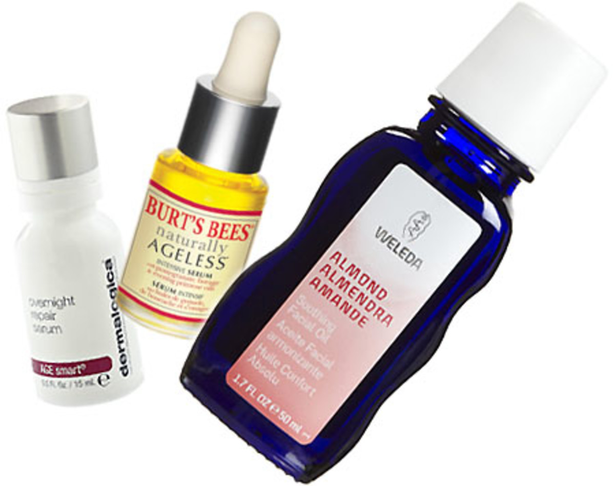 Dermalogica Overnight Repair Serum_Burts Bees Naturally Ageless Serum_Weleda Almond Soothing Facial Oil