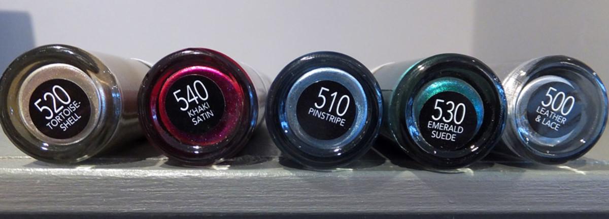 Revlon Nail Art Shiny Matte_520 Tortoise-Shell_540 Khaki Satin_510 Pinstripe_530 Emerald Suede_500 Leather & Lace