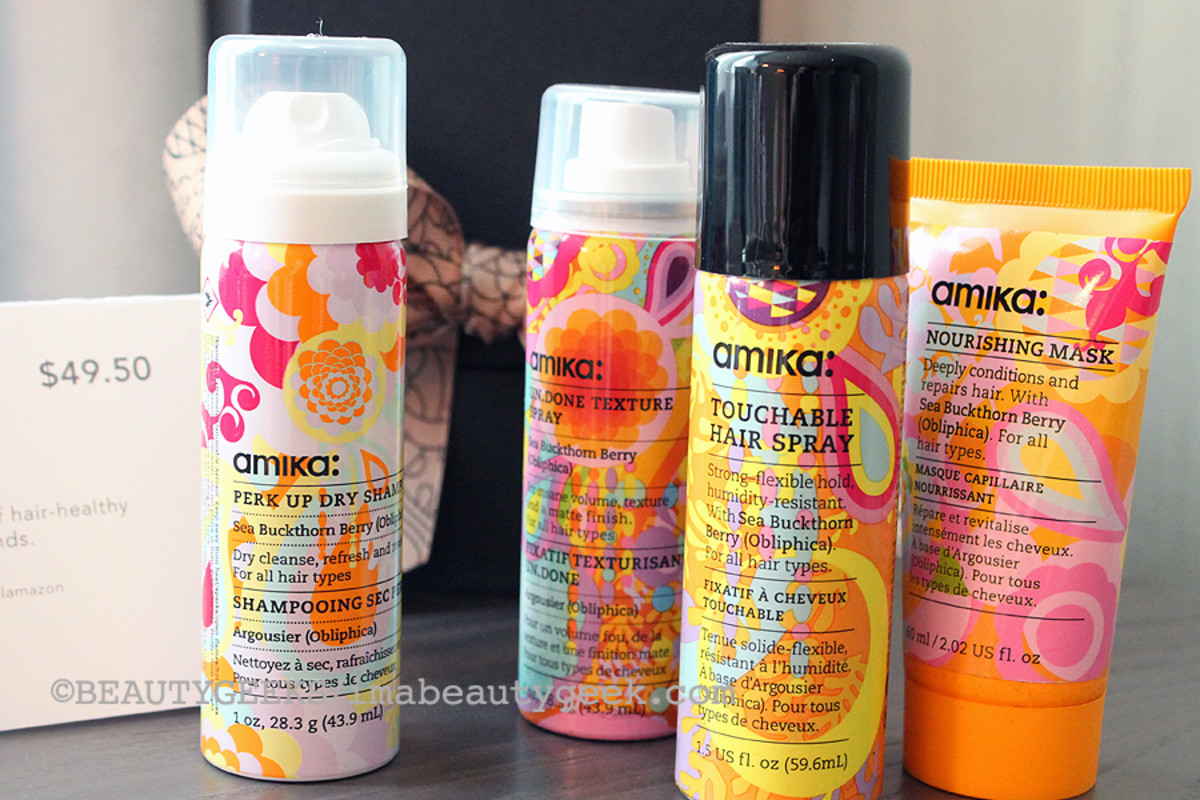 Amika Glambox of travel-size dry shampoo, texture spray, hair spray and nourishing mask ($49.50 at birchbox.ca)