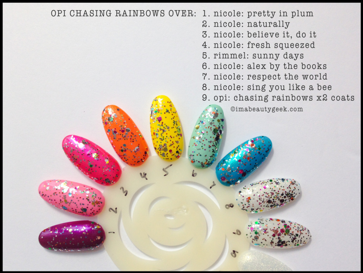 OPI Chasing Rainbows Over Different Shades