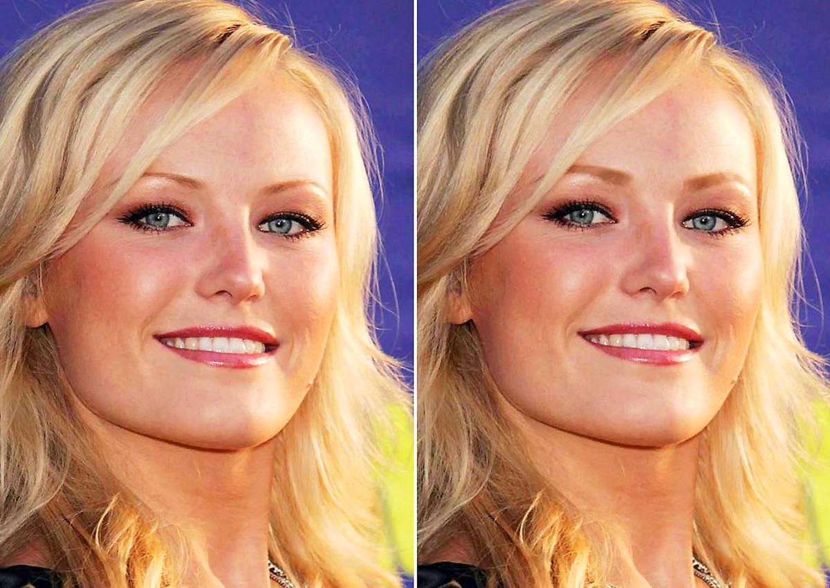 Malin Akerman's brows_thin brows vs fuller brows via Photoshop