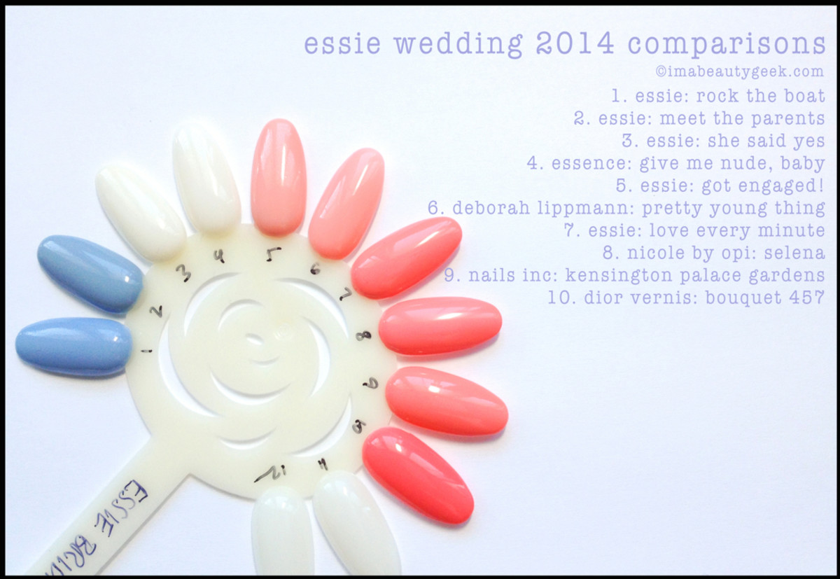 Essie Wedding 2014 Comparison Swatches