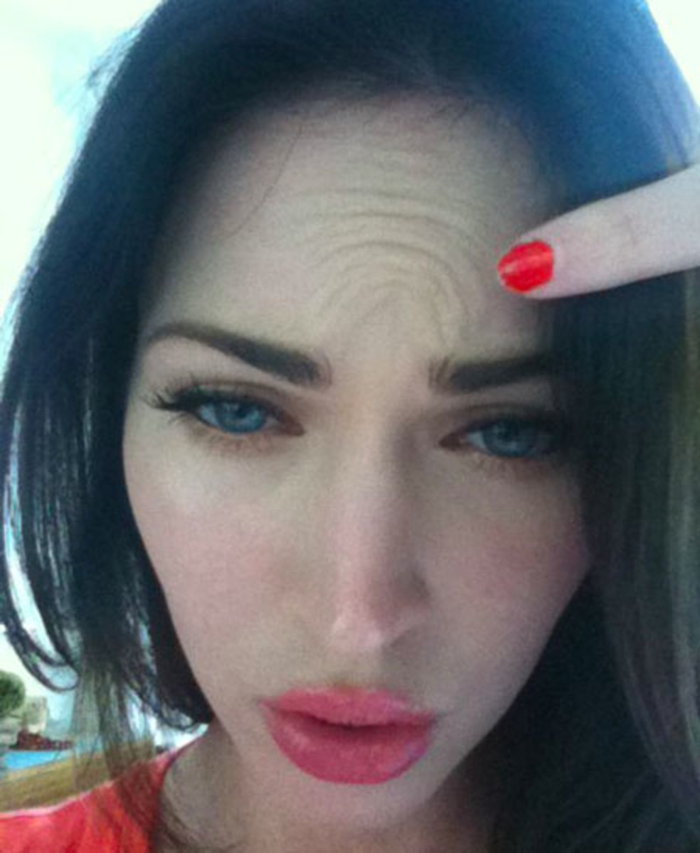 faux fox: are megan fox's facebook forehead wrinkles faked