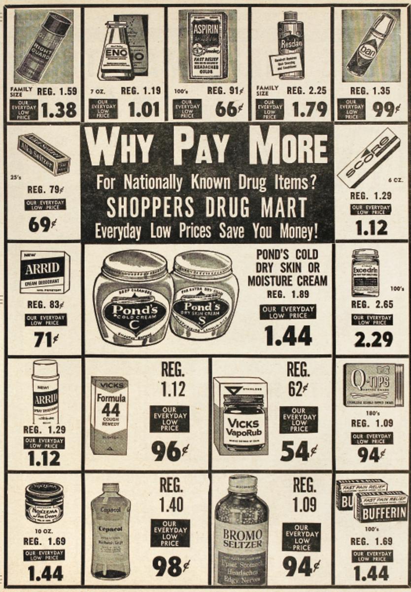 Shoppers Drug Mart flyer page, 1967