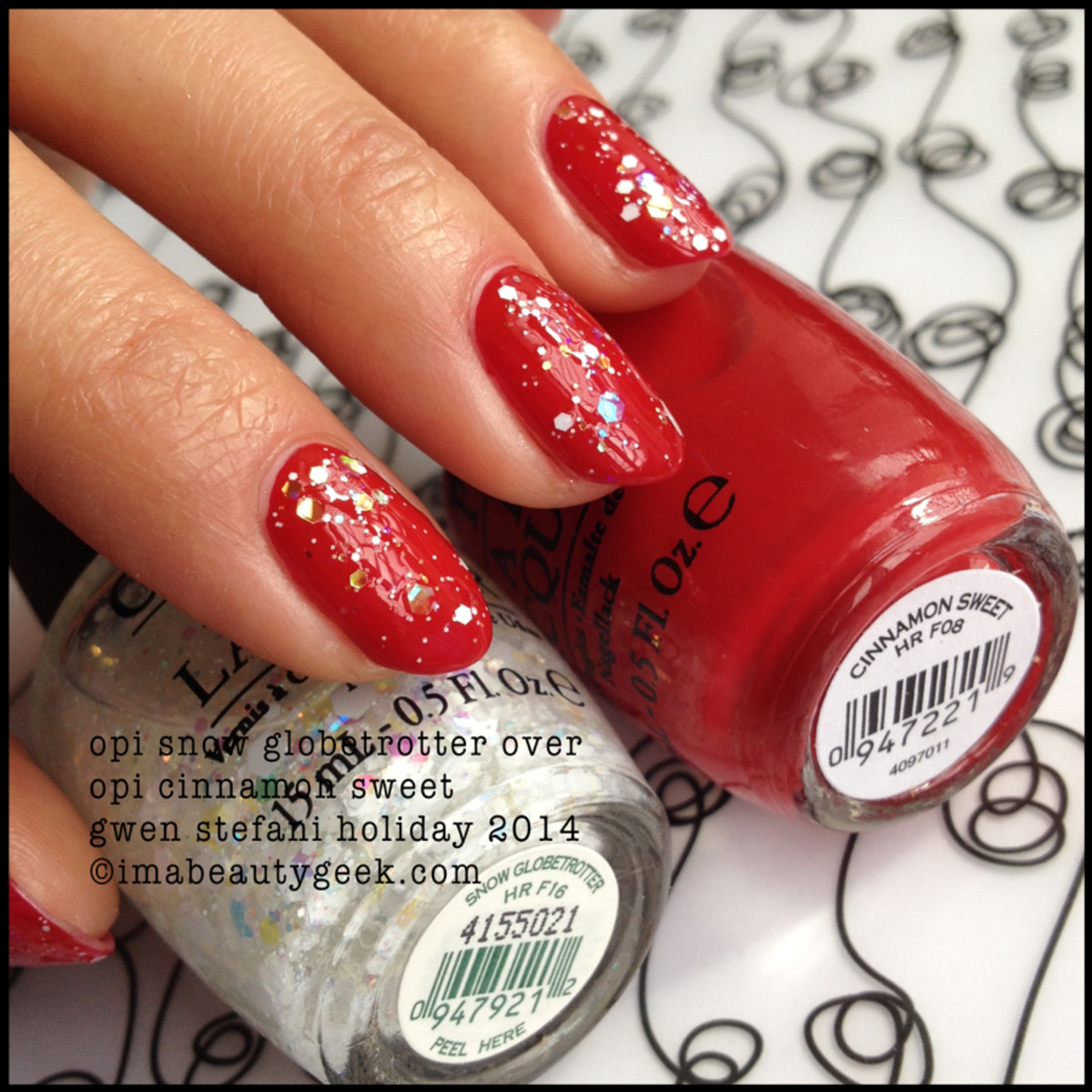 OPI Snow Globetrotter over OPI Cinnamon Sweet Gwen Stefani Holiday 2014