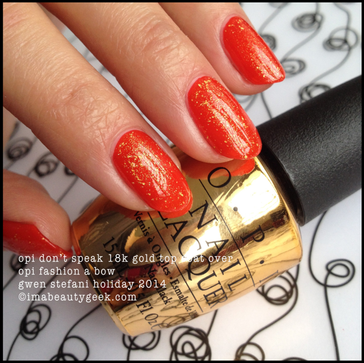 OPI Don't Speak 18k Gold Top Coat over OPI Fashion a Bow_Gwen Stefani Holiday 2014