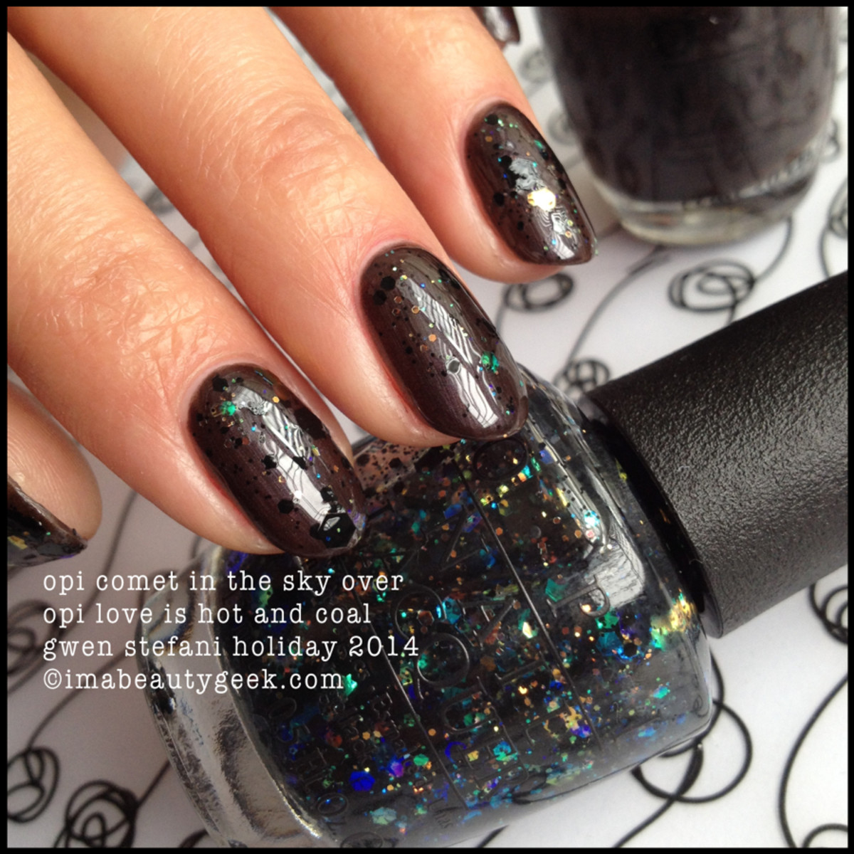OPI Comet in the Sky over OPI Love is Hot and Coal Gwen Stefani Holiday 2014