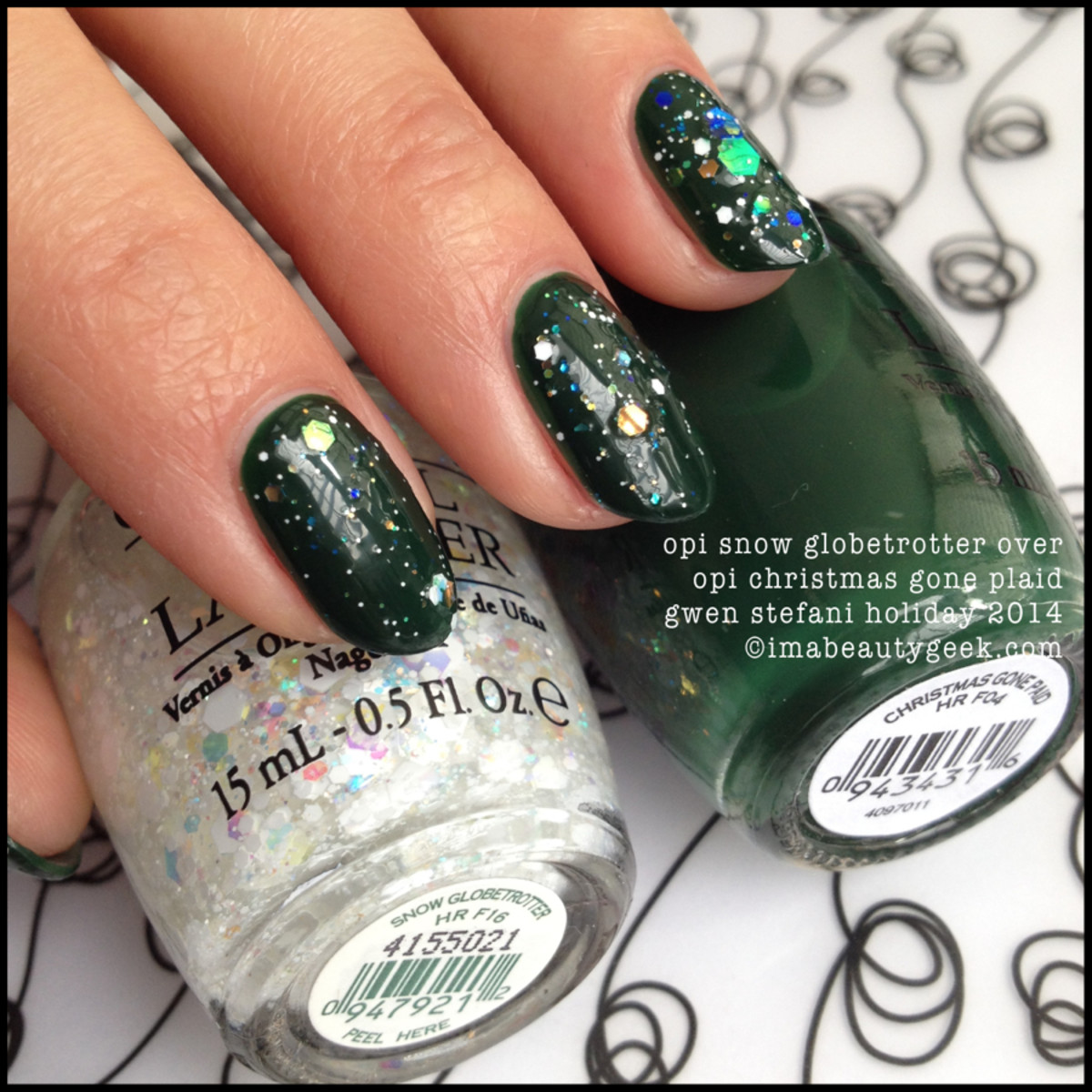 opi gwen stefani holiday 2014: snow globetrotter over christmas gone plaid