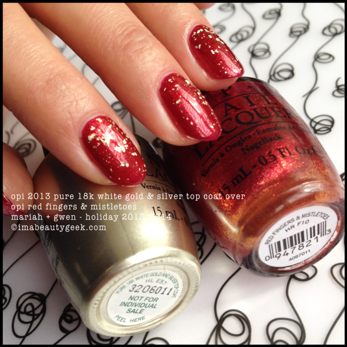 OPI 2013 Pure 18k White Gold & Silver Top Coat over OPI Red Fingers and Mistletoes_Mariah and Gwen Holiday 2013 and 2014