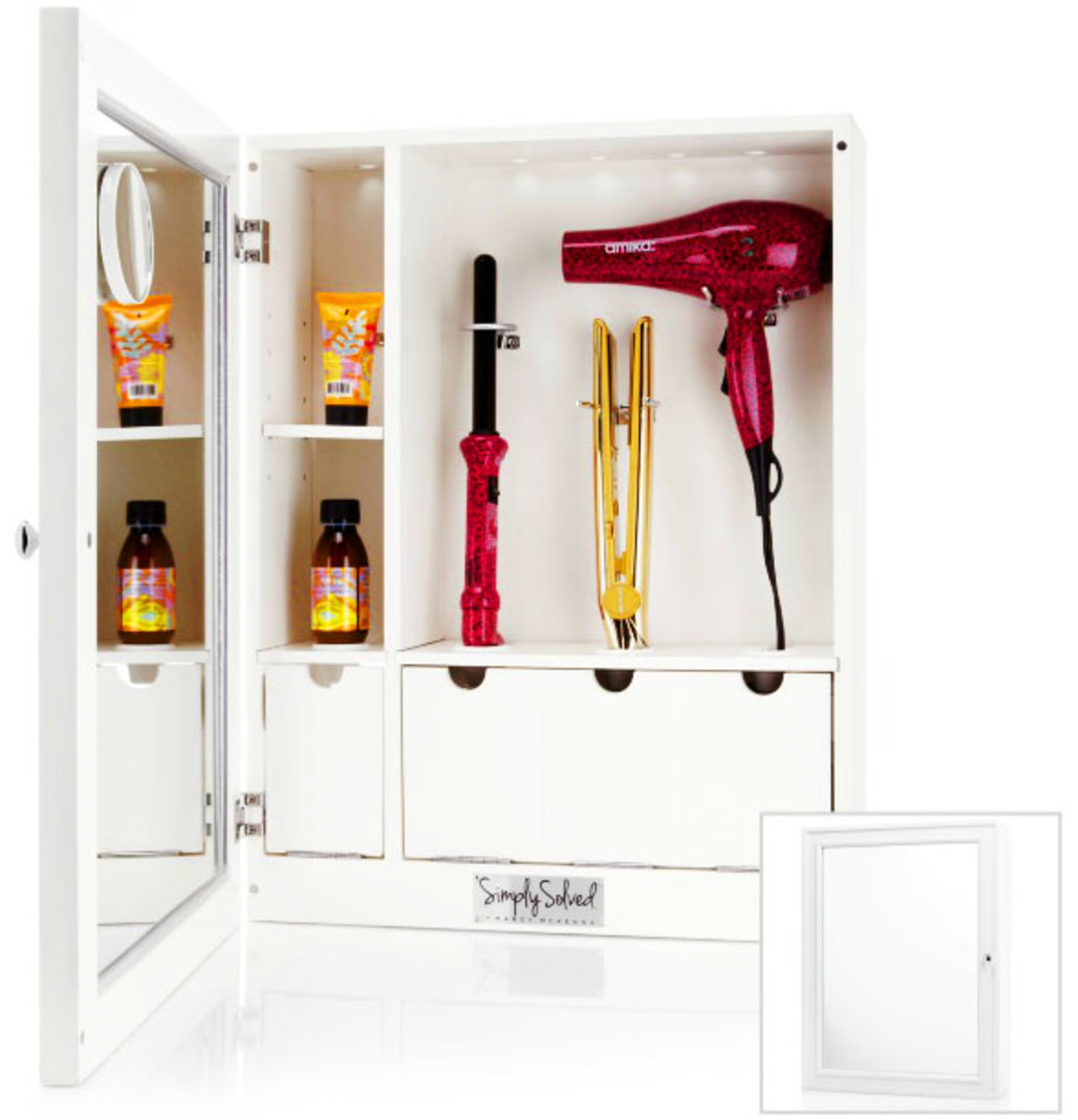 Style & Go Hair Care Valet Bathroom Appliance Cabinet_white