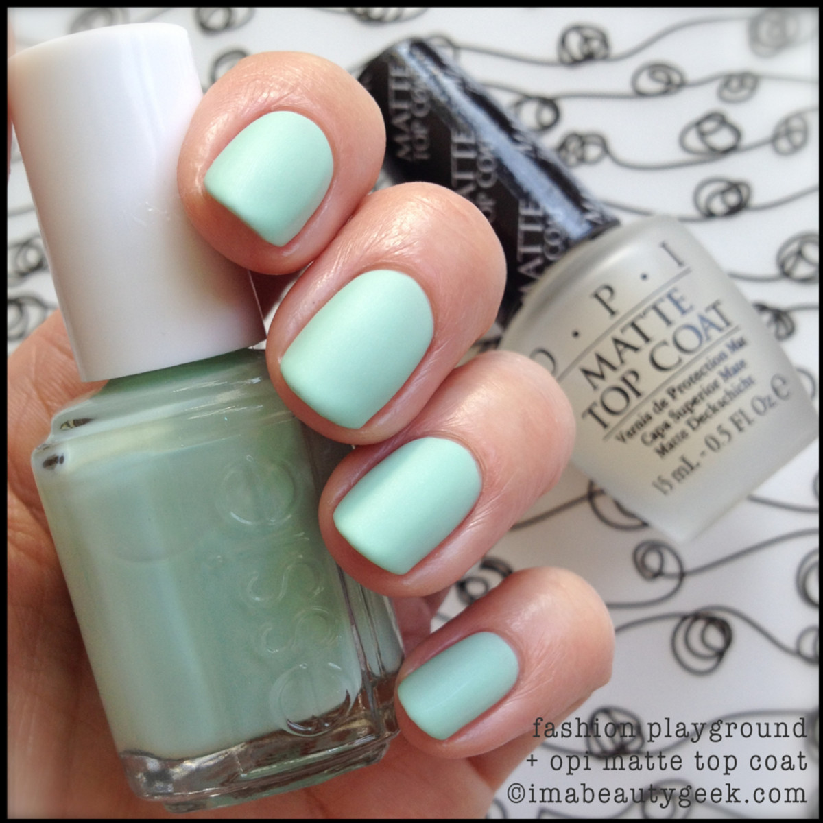 essie fashion playground hide go chic w opi matte top