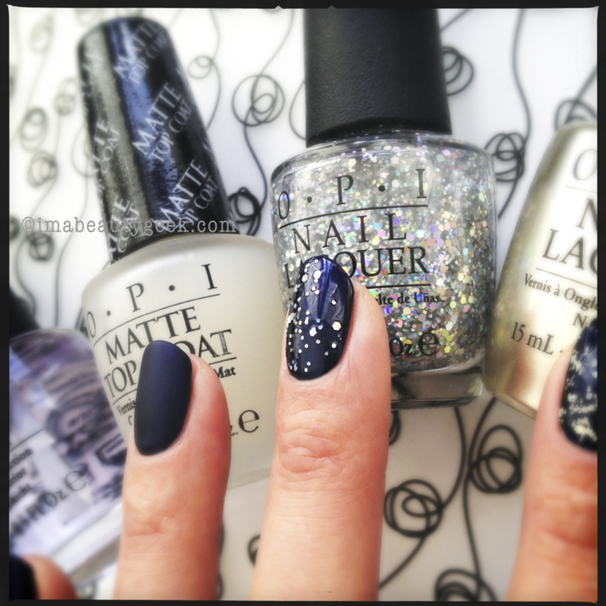 OPI Russian Navy with OPI Snowflakes in the Air