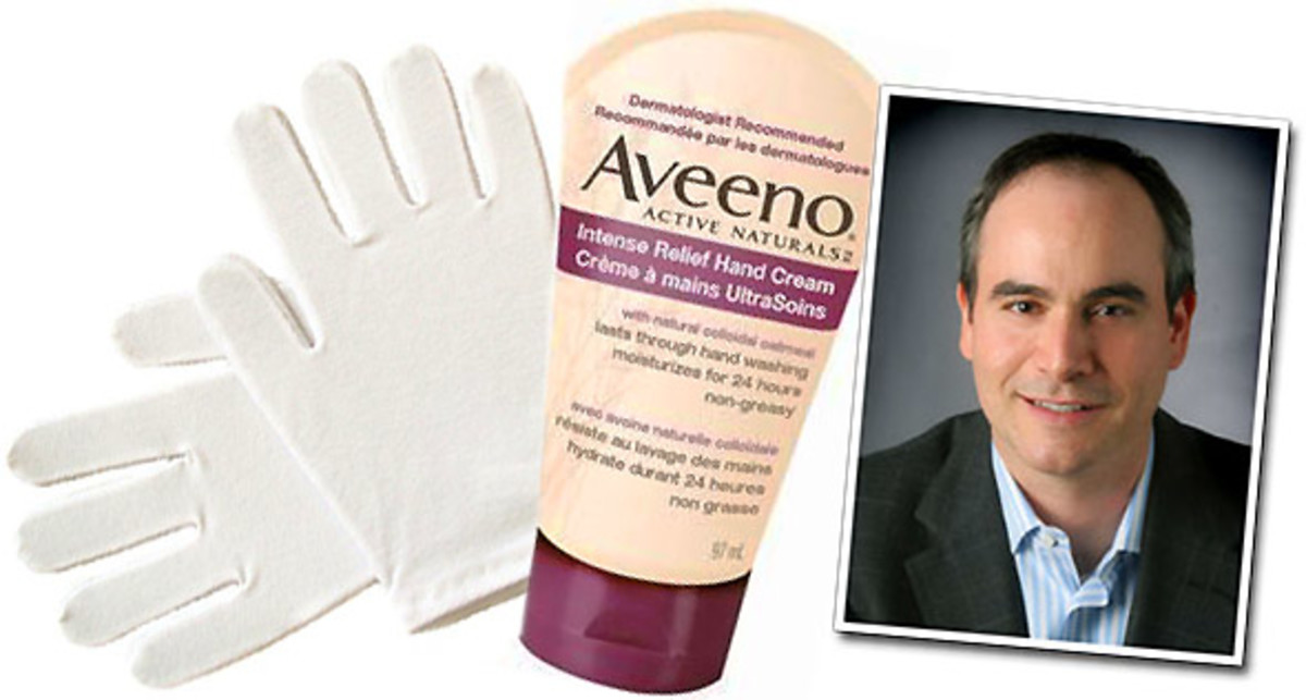 White cotton gloves_Aveeno Intense Relief Hand Cream_Dr. Paul Cohen
