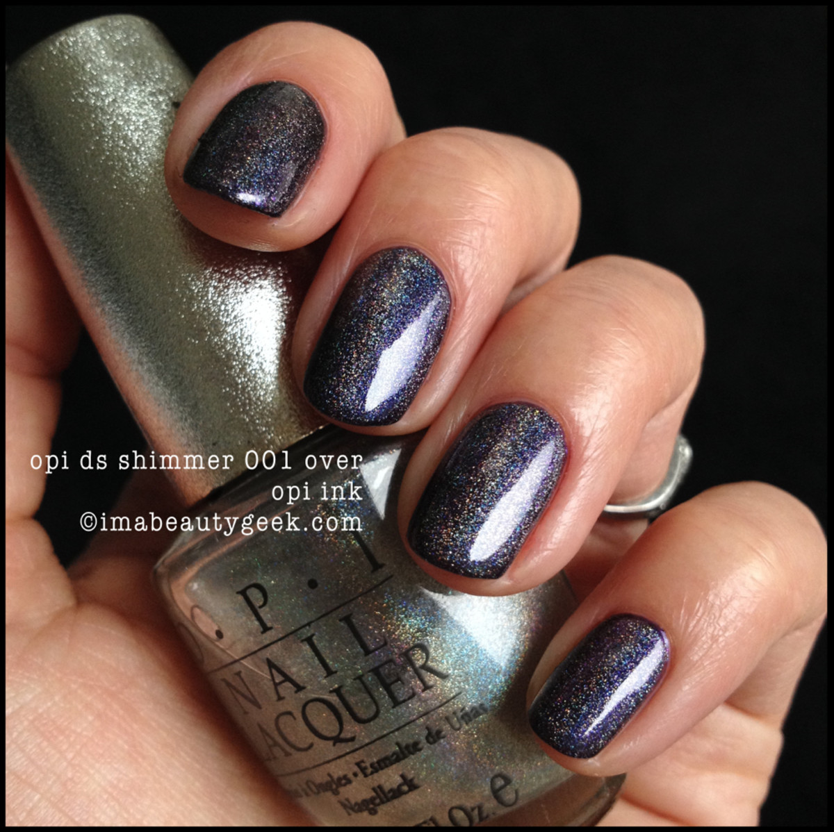 OPI Shimmer over OPI Ink