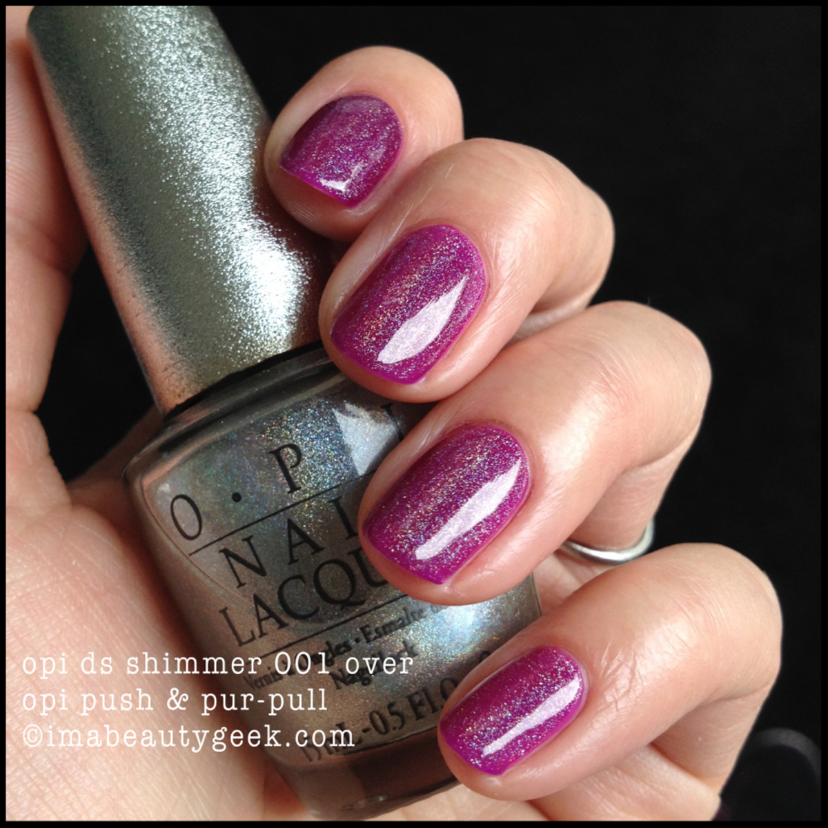 OPI DS Shimmer 001 over Push PurPull