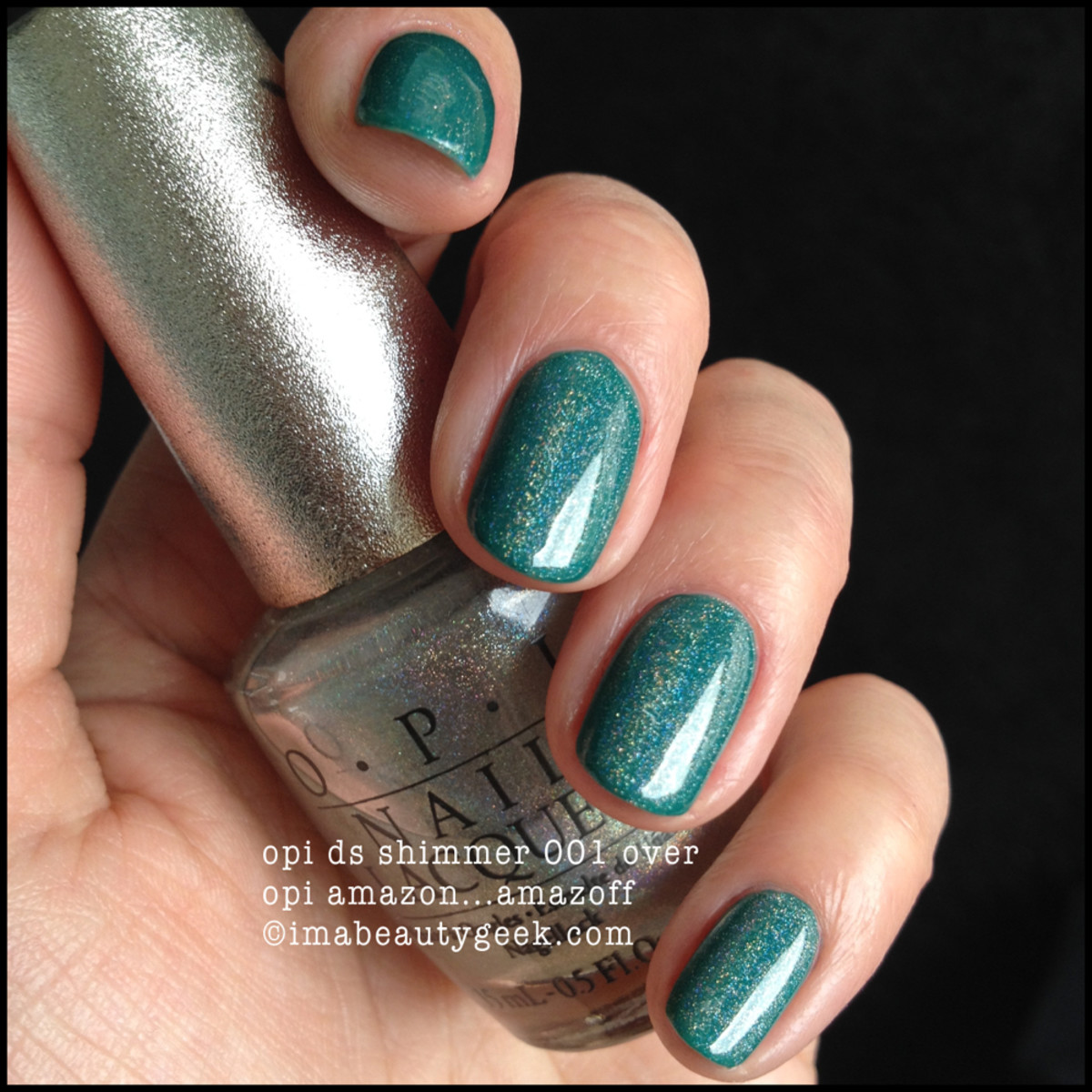 OPI Shimmer DS 001 over Amazon Amazoff