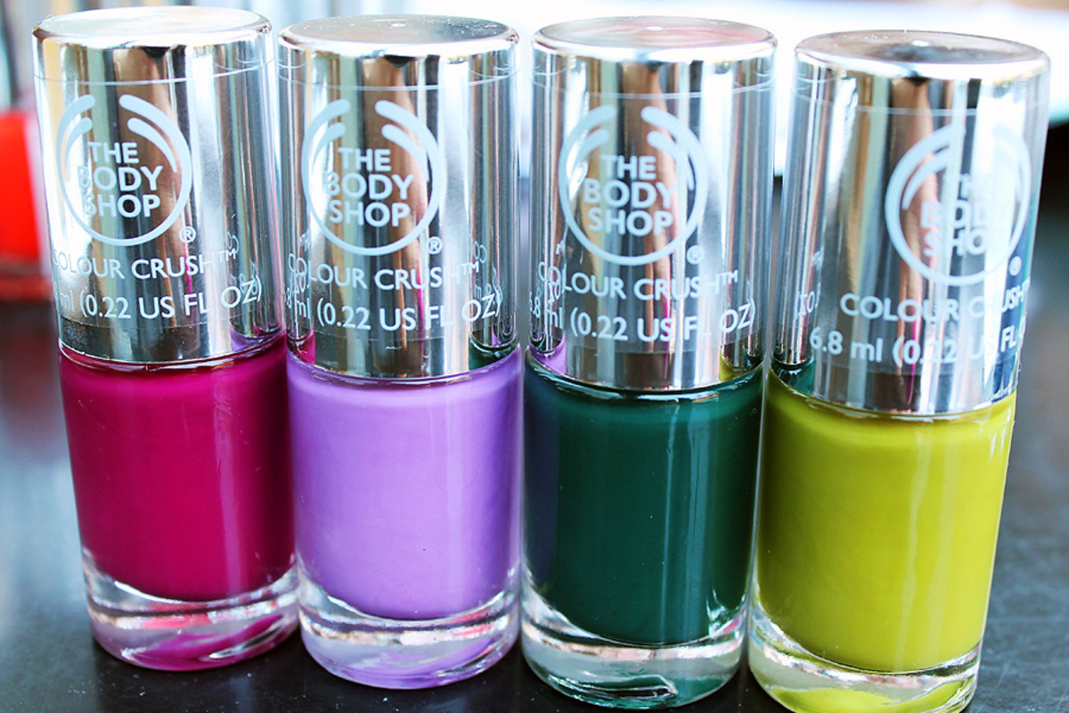 The Body Shop nail polish Deeply in Love_A Grape Affair_The Body Shop Green_Hemp Over Heals