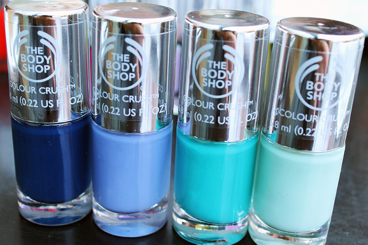 The Body Shop nail polish Crazy for Blue_Got the Blues_Minty Amour_Mint Cream