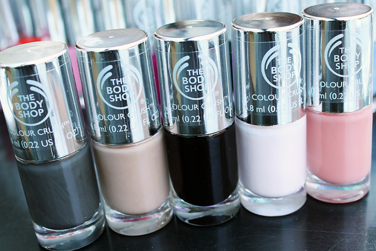 The Body Shop nail polish Big Smoke_Almond Kiss_Smoky Rose_Frosted Fancy_Meet Me At Dusk