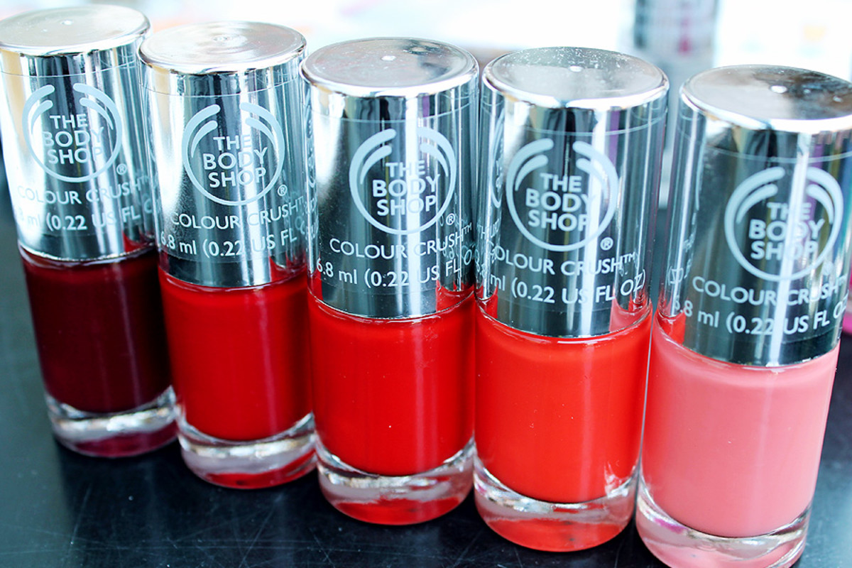 The Body Shop nail polish in Crimson Kiss_Relish the Moment_Red My Mind_Just Peachy_Peach Babe