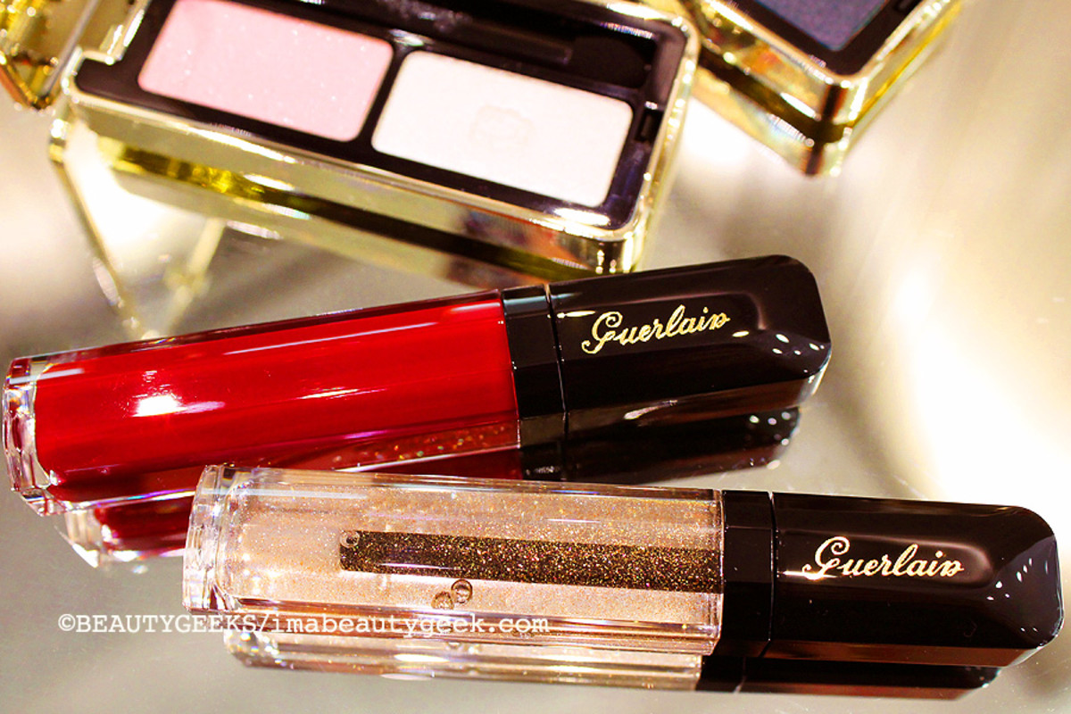 Guerlain holiday 2014: Ecrin 2 Couleurs #11 Cygne Blanc, Gloss d'Enfer #920 Rouge Parade and #901 L'Oiseau de Feu