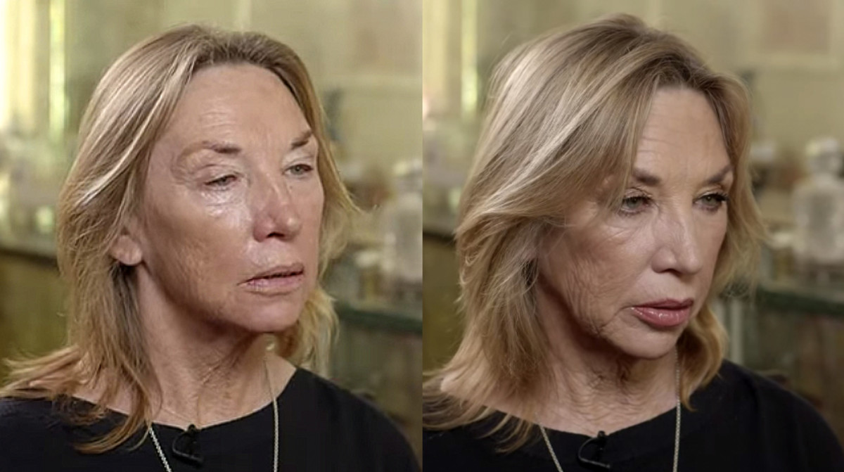Patsy Tilbury before and after daughter Charlotte has done her makeup (and used shimmery shadow)