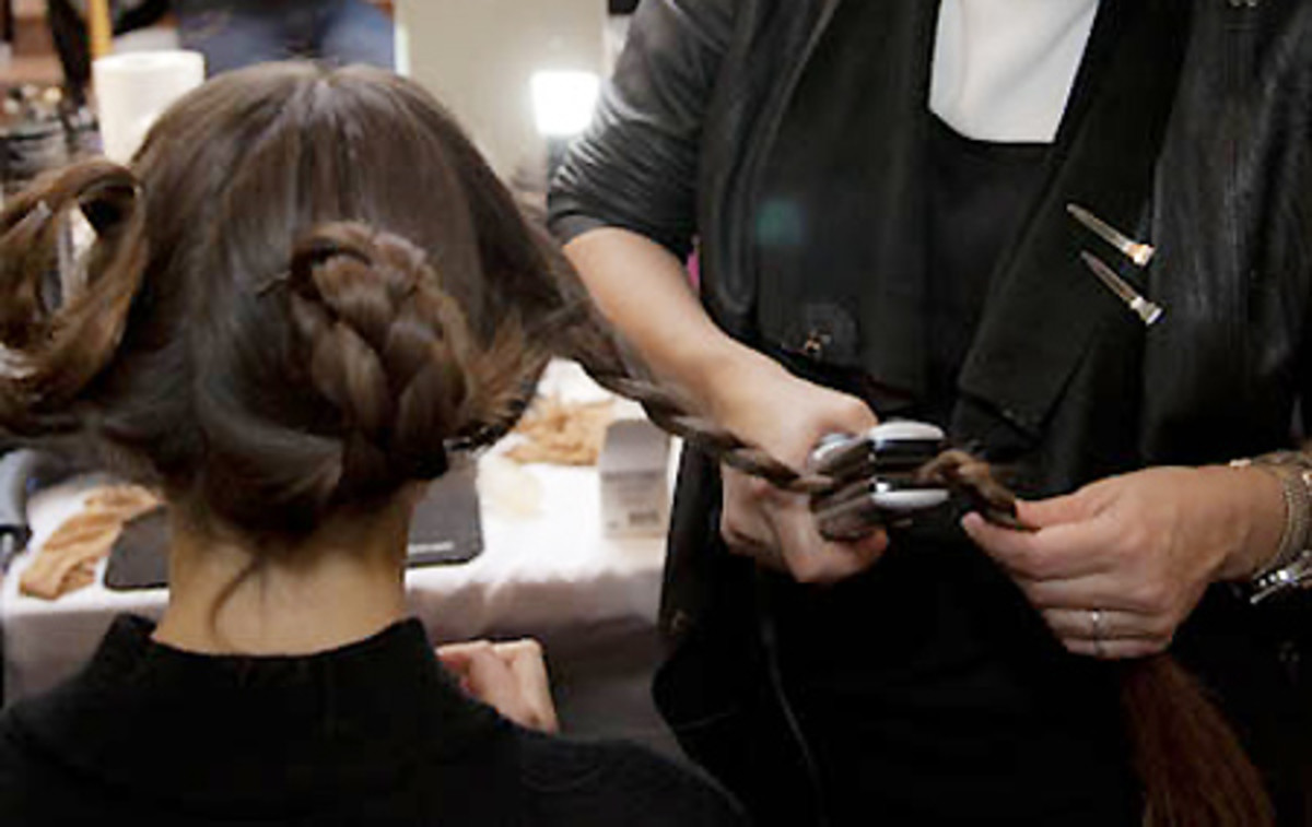 braid plus flat iron equals model hair_backstage at Steven Tai Spring 2014_The shOws