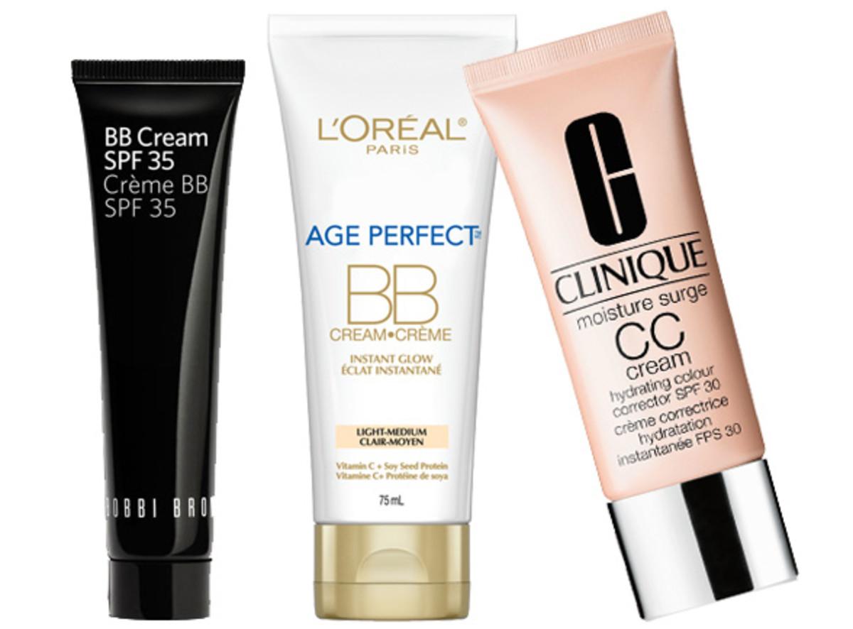 bobbi brown bb cream spf 35; l'oreal paris age perfect bb cream; clinique moisture surge cc cream spf 30