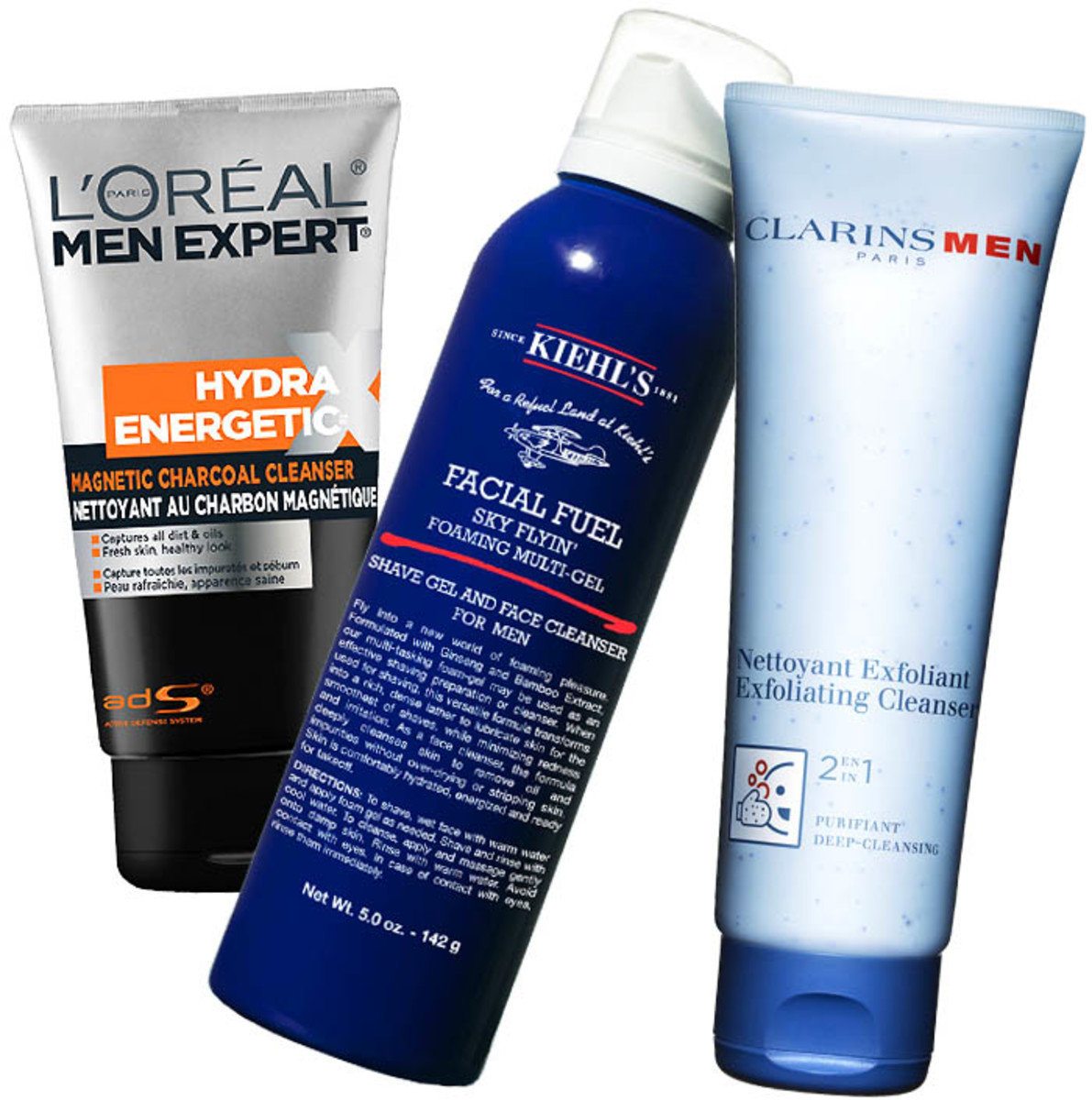 Father's Day_L'Oreal Paris Men Expert Charcoal Cleanser_Kiehl's Facial Fuel Foaming Multi Gel_Clarins Men Exfoliating Cleanser