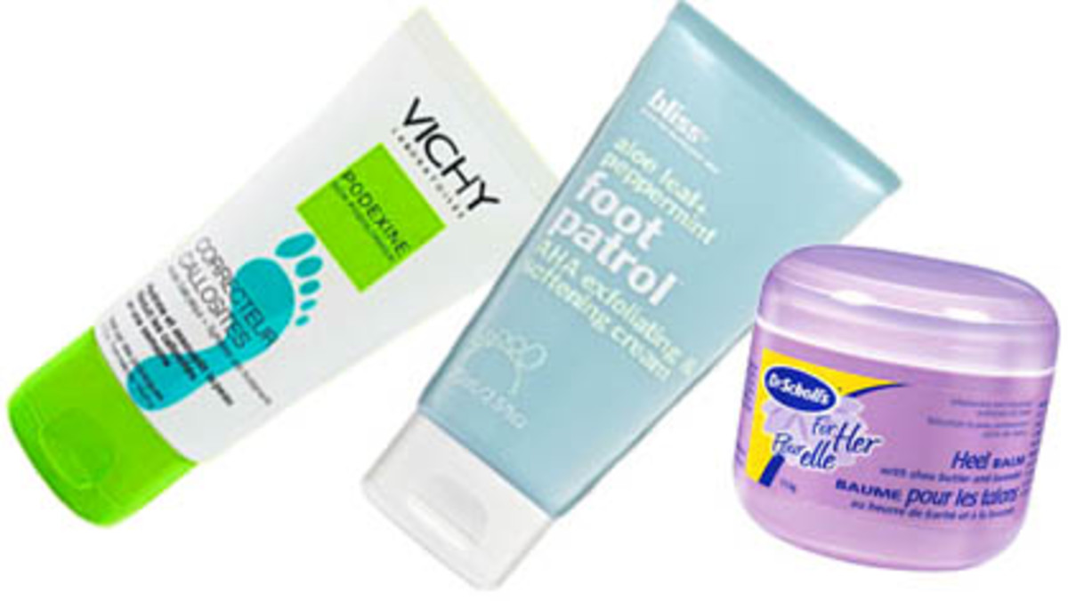 Exfoliating foot creams: Vichy Podexine, Bliss Foot Patrol, Dr. Scholl's For Her Foot Softening Balm
