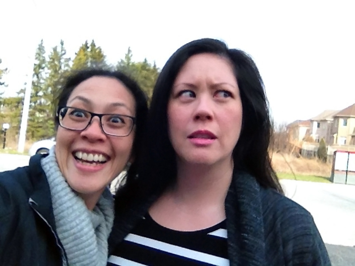 ambush selfie recreation 2 with hilarious sister Karen Falcon