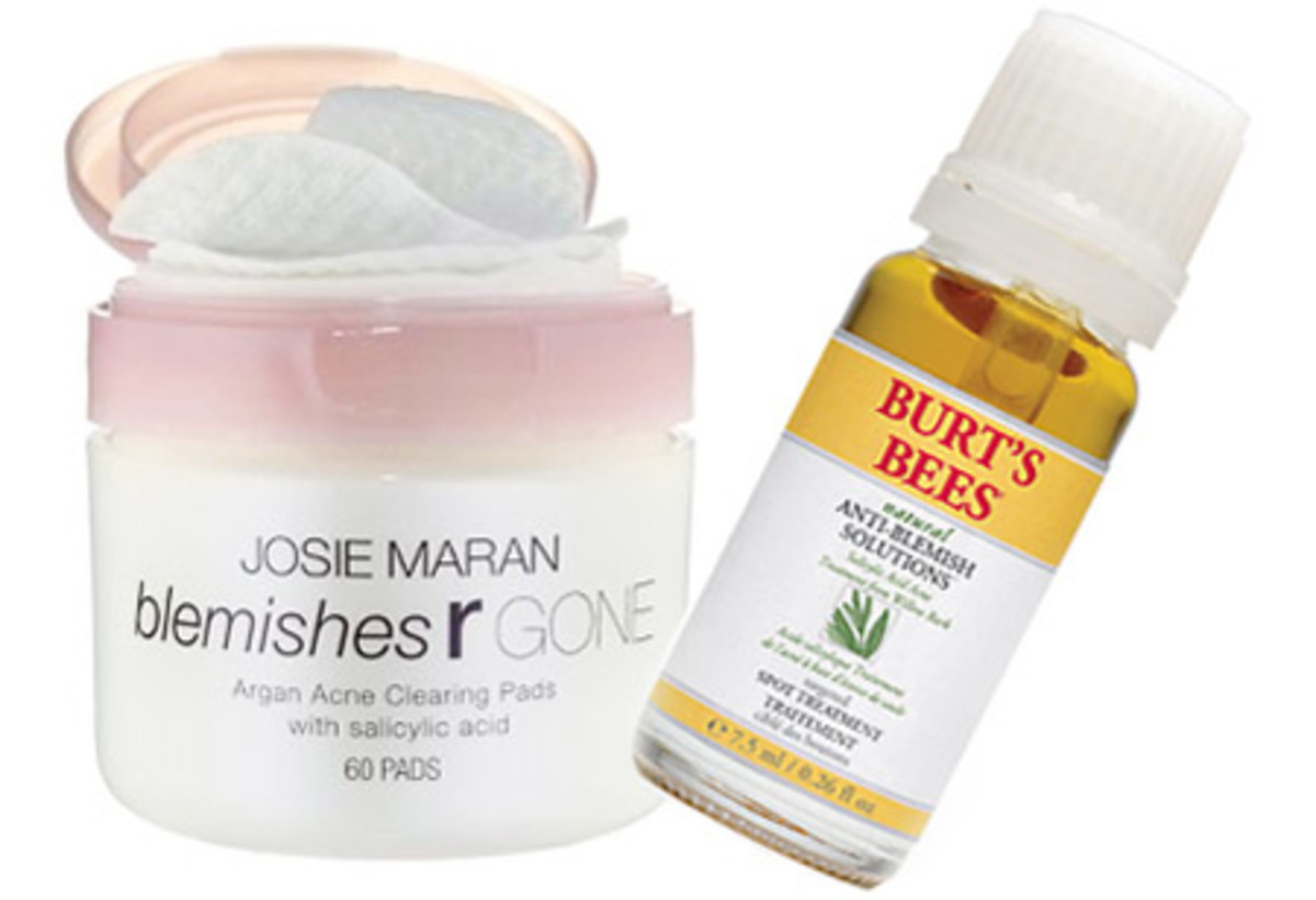 Josie-Maran-Blemishes-R-Gone-Argan-Acne-Clearing-Pads_Burts Bees Natural Anti-Blemish Solutions Spot Treatment