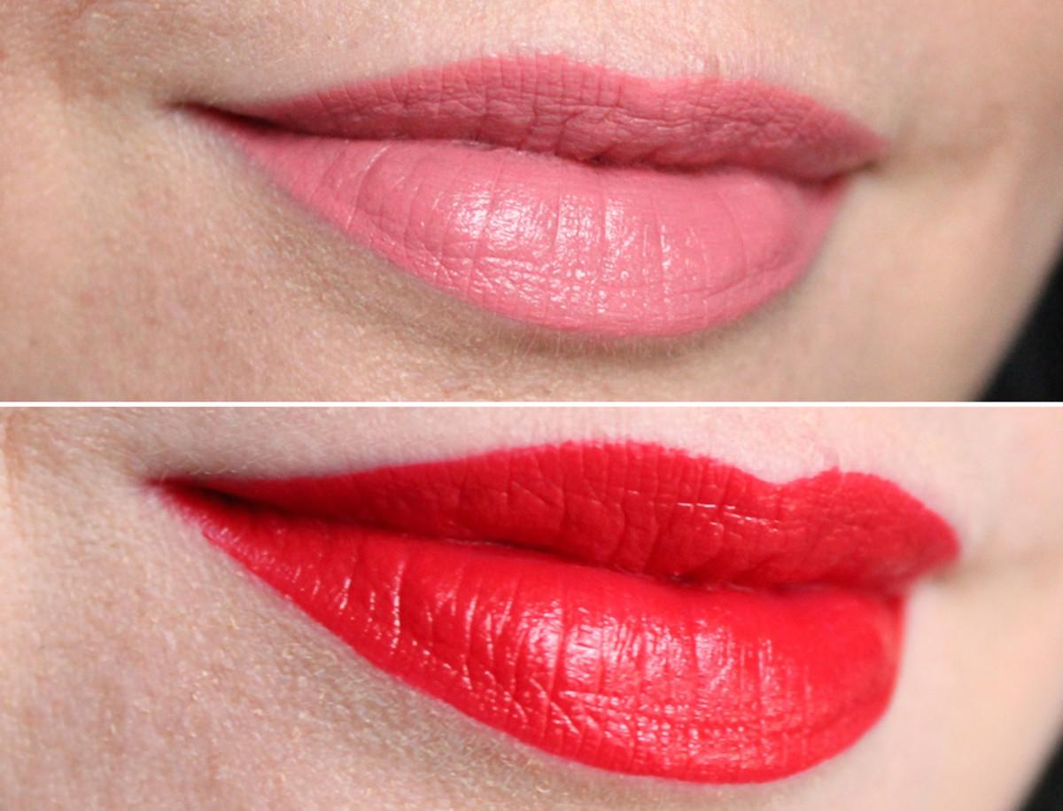 Essence Stay Matt Lip Cream in Velvet Rose and Silky Red